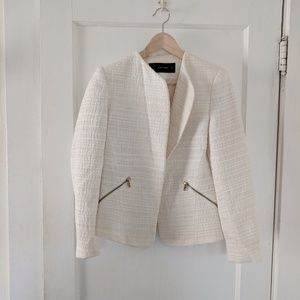 Summer white tweed blazer